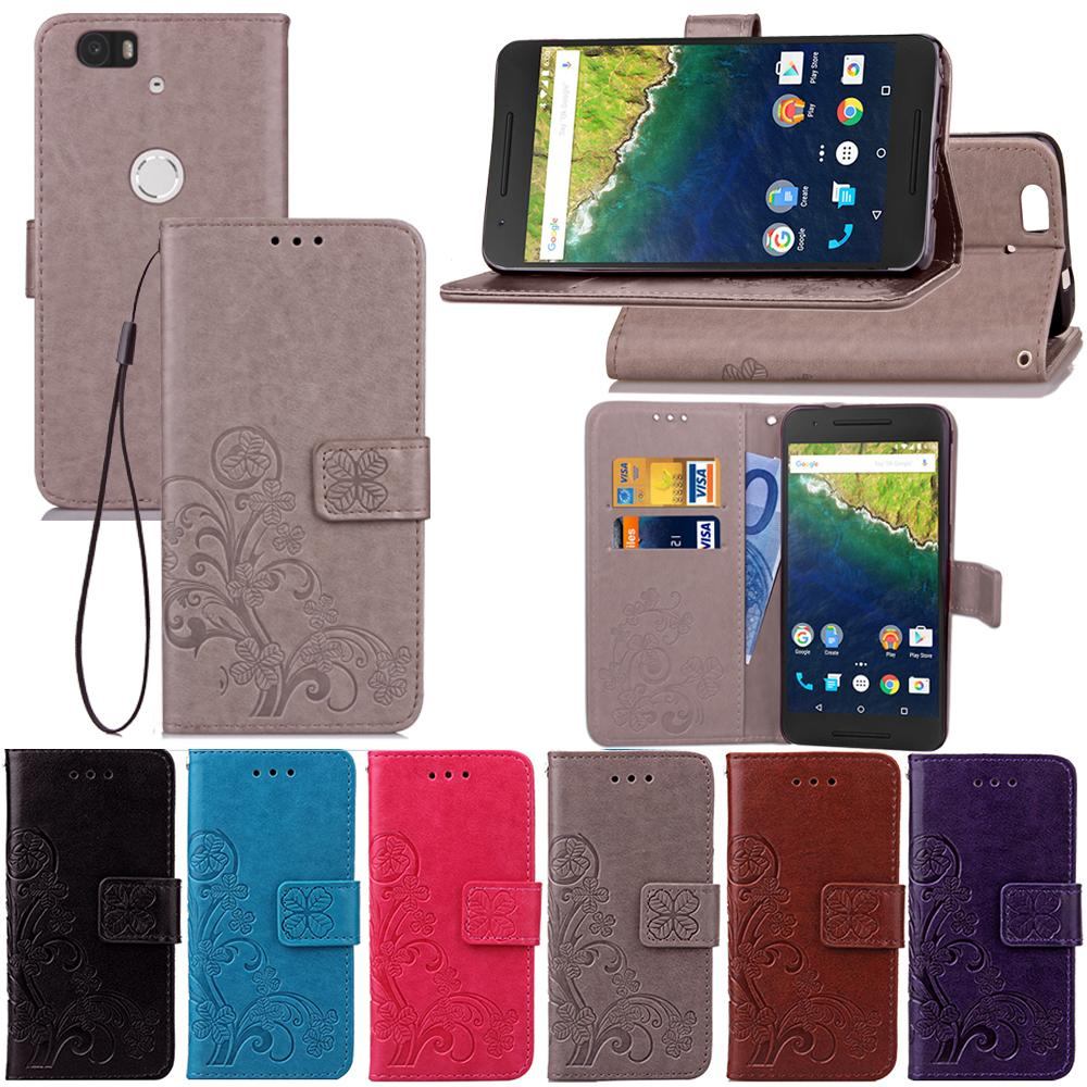 low priced ab9ea 07296 For Google Nexus 6P/Bullhead/Nexus 7/Angle Case Cover Stand PU Leather  Stand Lucky Four Leaf with Wallet Card Holder
