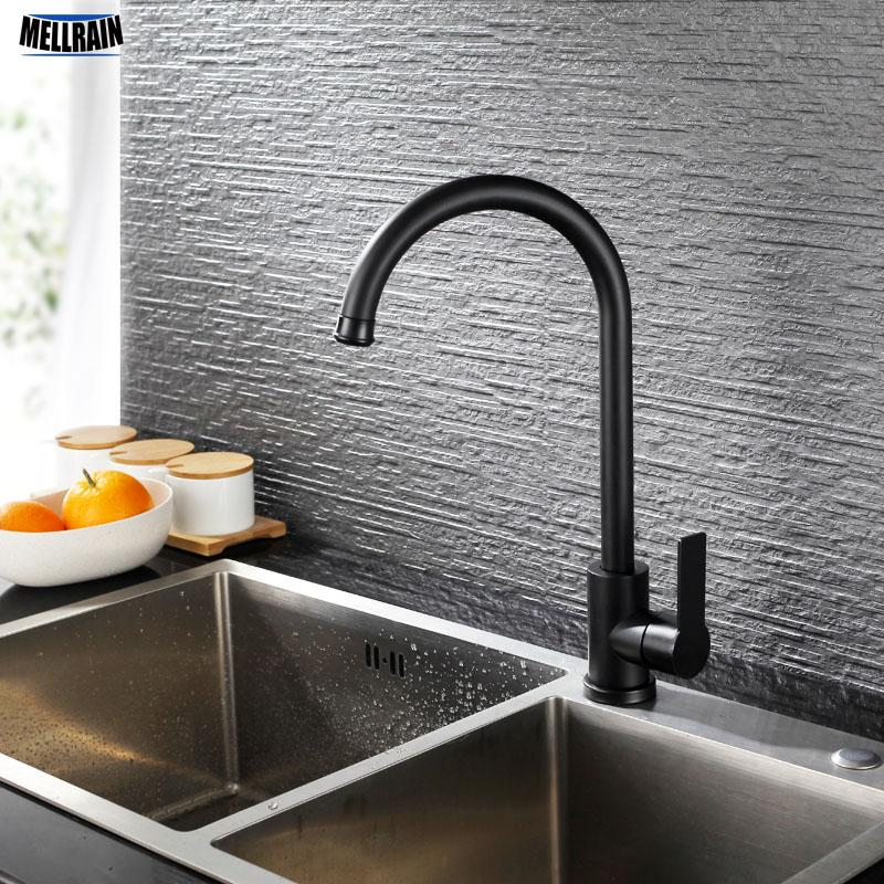 Mate Black Kitchen Sink Faucet 304 Stainless Steel Qaulity Kitchen Hot Cold Water Mixer Deck Mounted Tapware