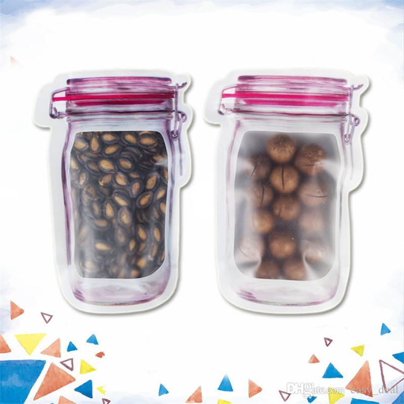 Wholesale Mason Jar Shaped Food Container Plastic Bag Clear Mason Bottle Modeling Zippers Storage Snacks Plastic Box LZ1827