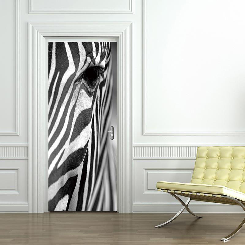 Zebra Door Wall Sticker Adesivo De Parede Diy Wall Decals Abstract Art Animal Wallpaper Decoration Cool Home Decor Wall Quotes Stickers Wall Removable ... & Zebra Door Wall Sticker Adesivo De Parede Diy Wall Decals Abstract ...