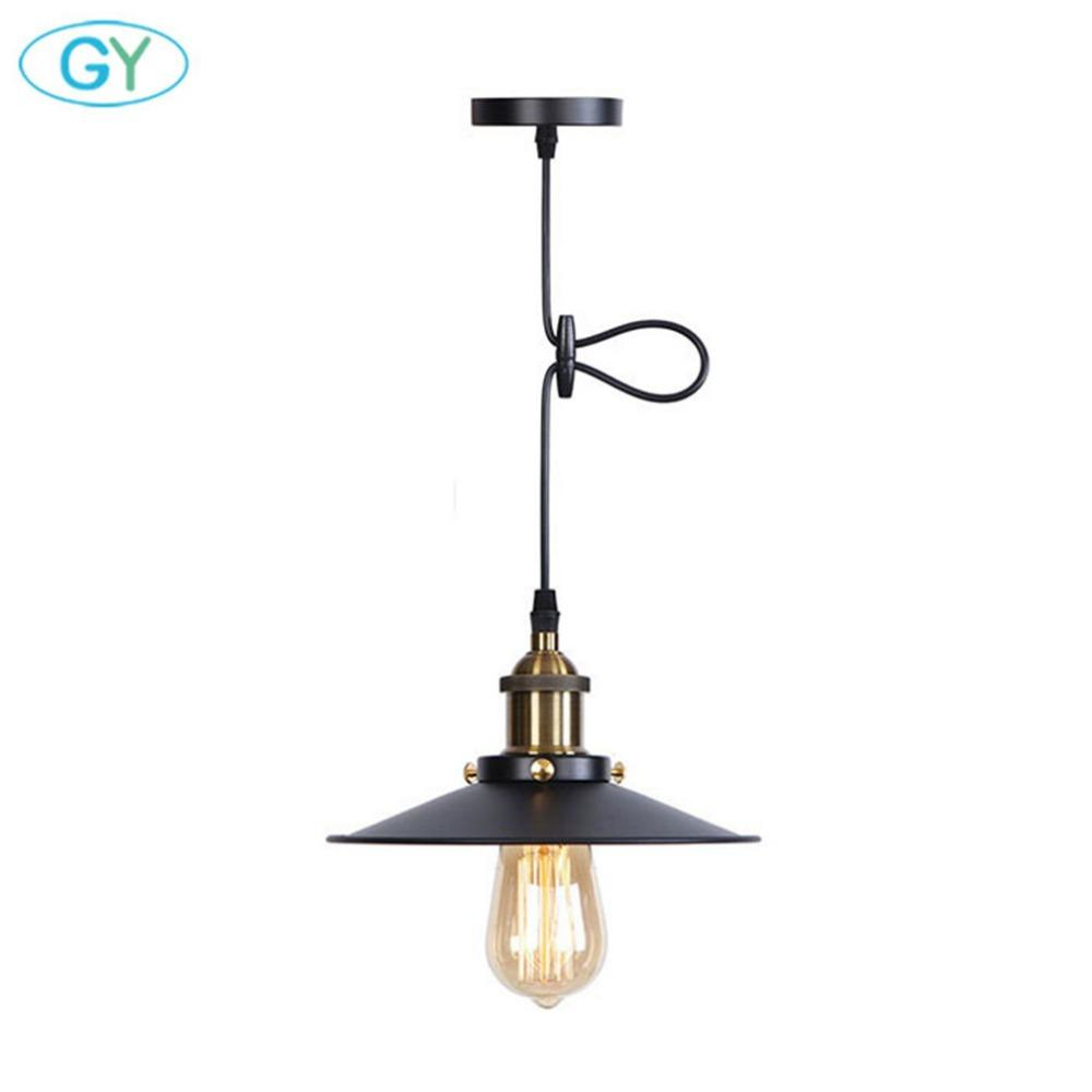 Vintage d22cm pendant lighting fixture with metal shade industrial black e27 pendant lamp above kitchen sink for dining room kitchen island lighting ceiling