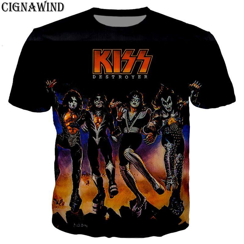 Compre Nuevo Verano Top Heavy Metal Rock Kiss Band Camiseta Hombres    Mujeres 3D Imprimir Camisetas De Manga Corta Hip Hop Estilo Streetwear  Streetwear A ... b3df1beb99b