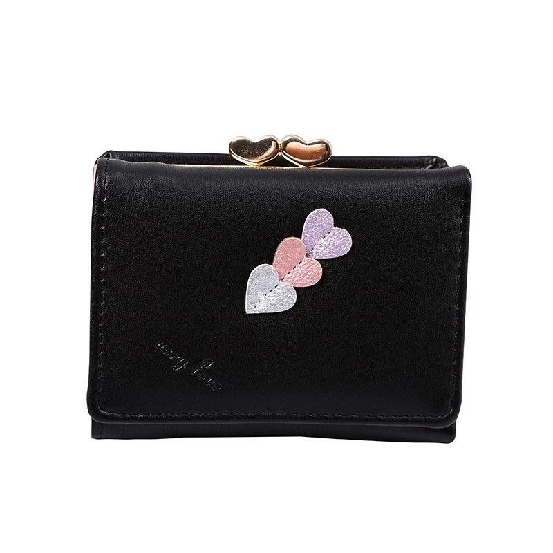 51ed7286abe8 New female short section heart small wallet student small fresh folding  coin holder leather purse nightmare before christmas