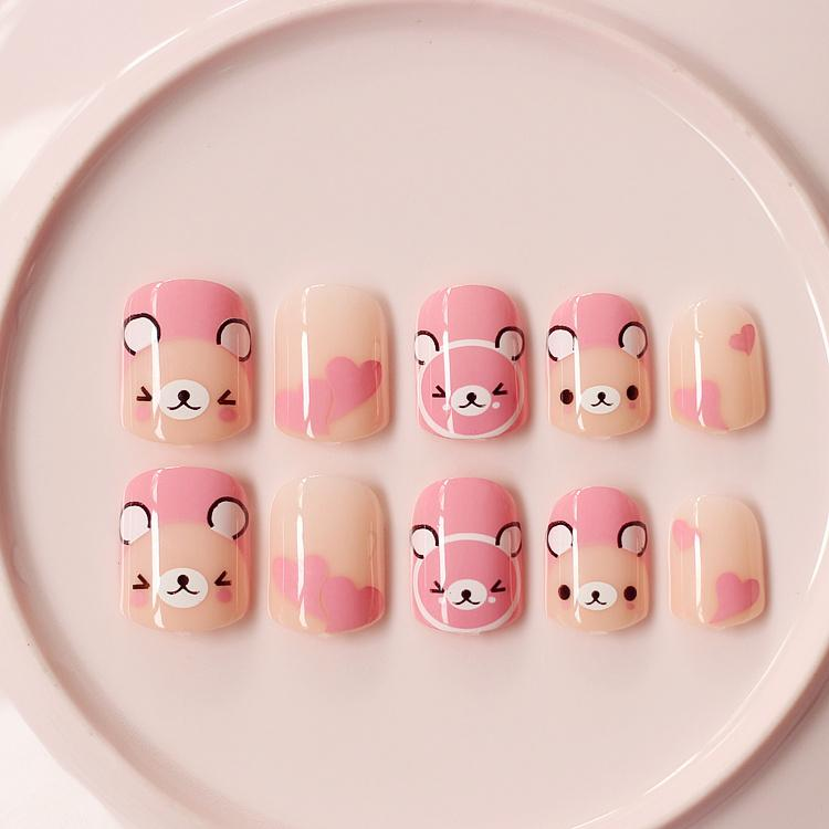 Pink Bears Fake Nails Cute Kawaii Short False Nails Acrylic Impress ...