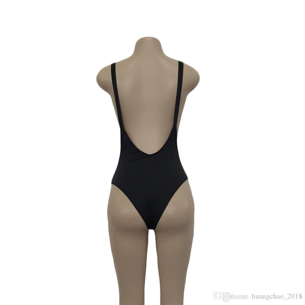 Women Swimsuit One Piece Swimwear Female Stripe Bikini Push Up Solid Female Sexy Black Backless Brazilian Women Swimming Suits Red
