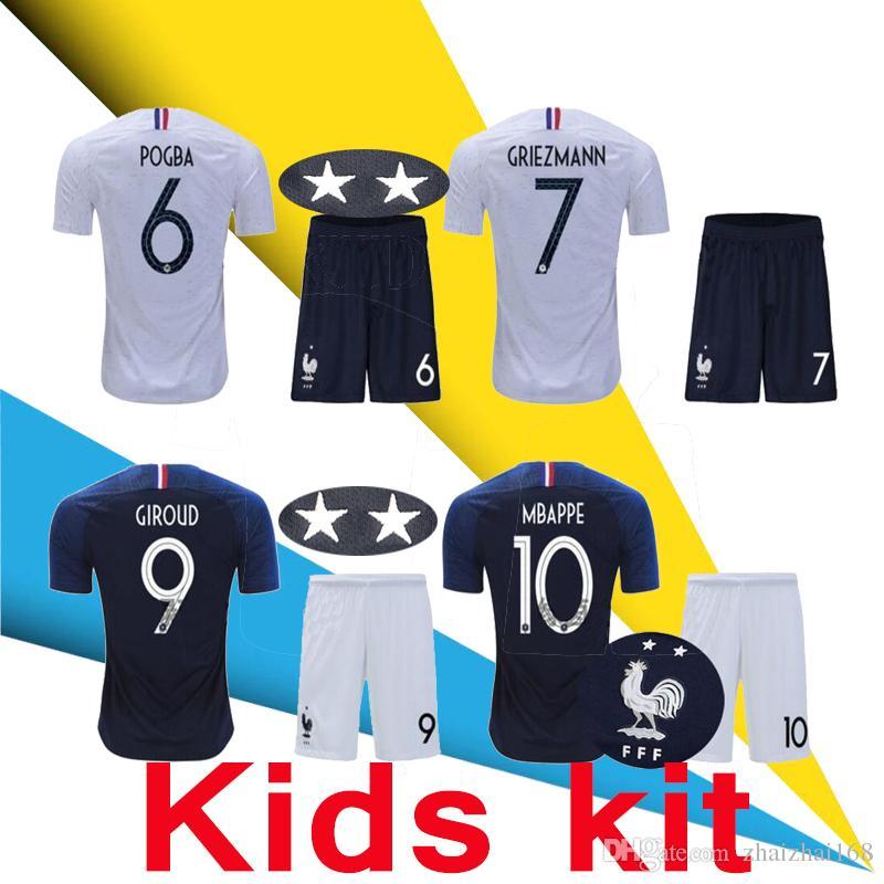 b6a152d3e14 KIDS KIT GRIEZMANN MBAPPE POGBA Soccer Jerseys 2018 France Shirts ...