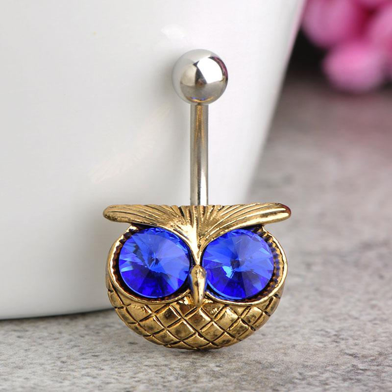 Madrry Illuminati Big Green Owl Piercing Navel Belly Button Rings Lingerie Sexy Body Jewelry la personalità Gothic Vaz unhas