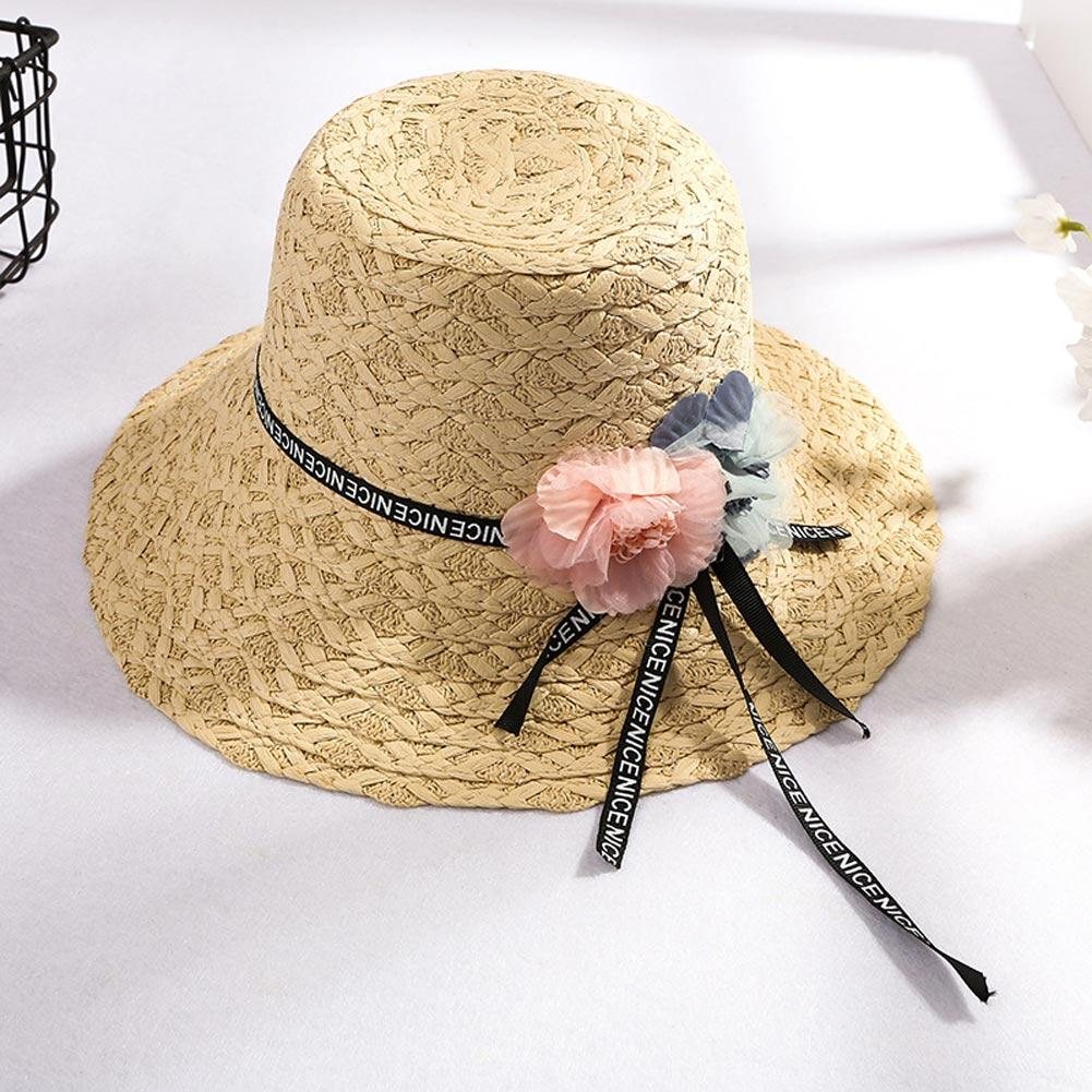 dd8e69bbb1a Newly Women Flower Tassel Sun Straw Hat Wide Brim Sunshade Casual ...