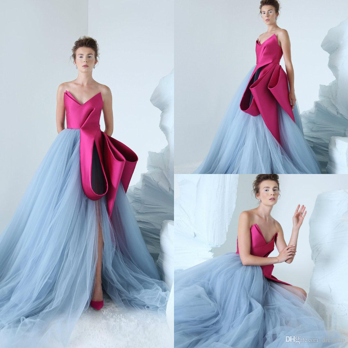 85662ebd80b 2019 Azzi Osta Gorgeous Prom Dresses V Neck Luxury Ruffles Side Split Tulle  Sweep Train Evening Dress Party Wear Custom Made Formal Gowns Evening Gown  Dress ...
