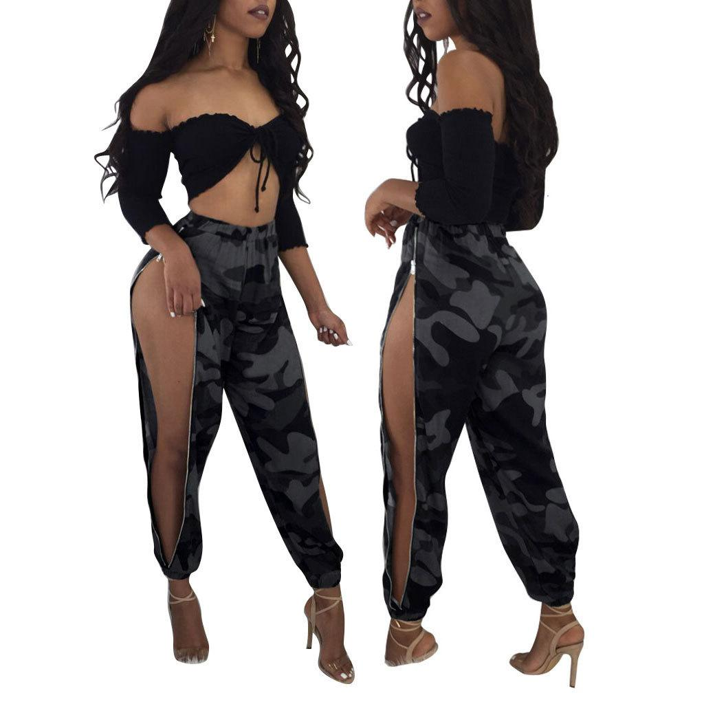e90197932ba7f0 Women Sexy Long Pants Split Solid Coveralls Rompers Casual Fashion Sexy  Bodysuit Jumpsuits Lady Women's Clothes