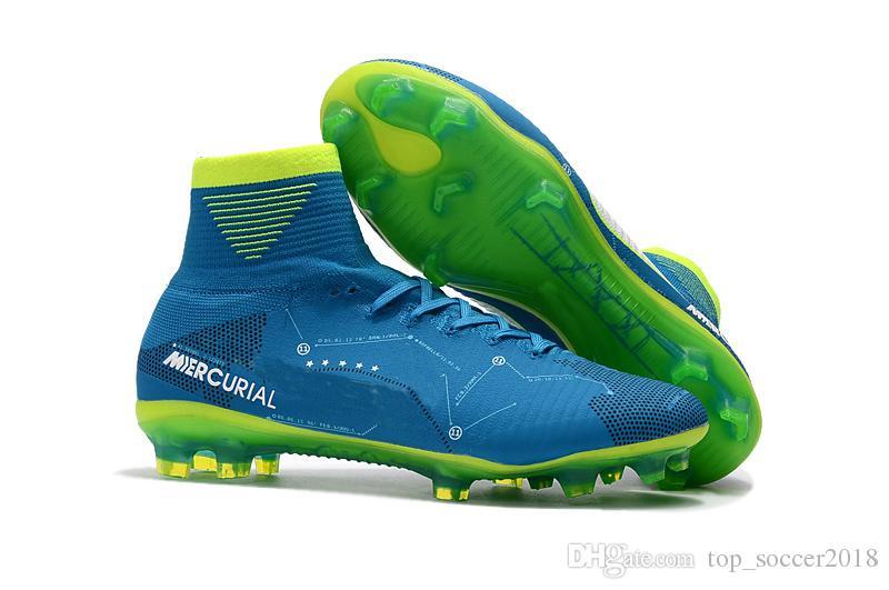 الأزرق الأخضر لكرة القدم المرابط الزئبقي superfly v sx نيمار أطفال أحذية عالية الكاحل كريستيانو رونالدو رجل إمرأة أحذية كرة القدم