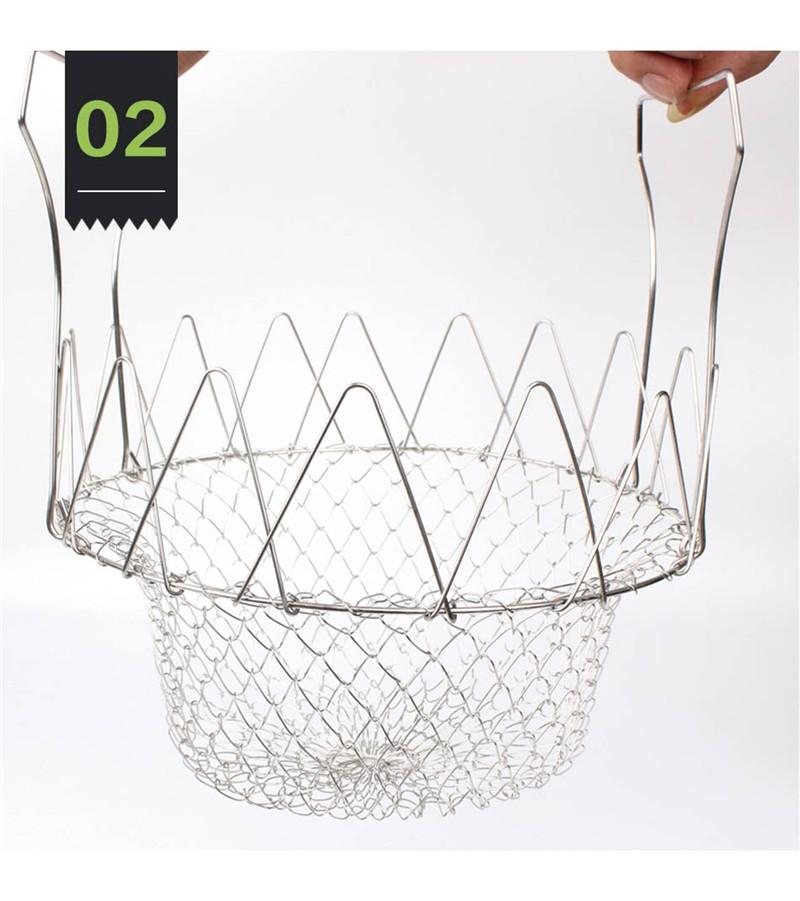chef basket Collapsible Colander Mesh Basket Steam Rinse Strainer Stainless Steel Filter Kitchen Sieve Fry French Cooking Tools c592