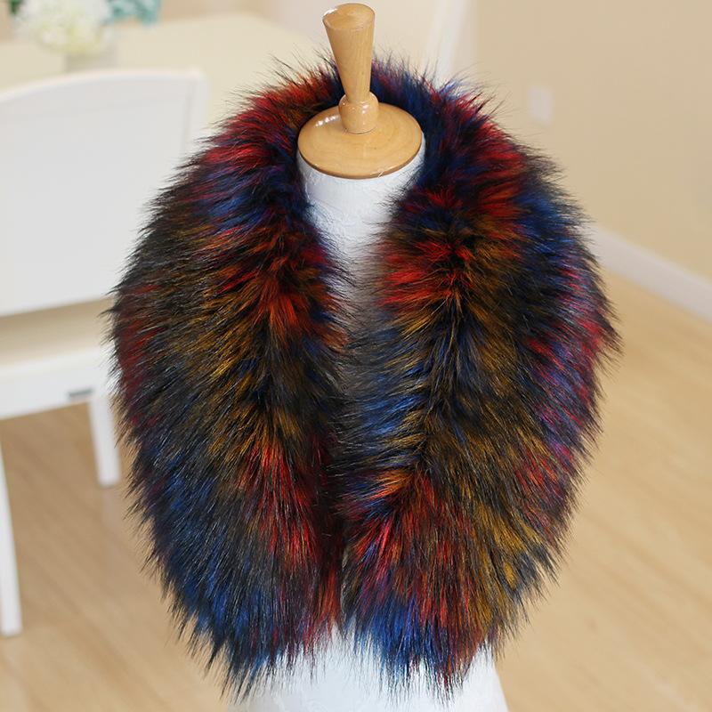 1d37d4fa7635 Faux Fox Fur Winter Coat Collar Women Stylish Faux Fur Shawl Hat Decor Neck  Warm Scarf Multicolor Coat Fake Collar Wholesale Mexican Bandana Burgundy  ...