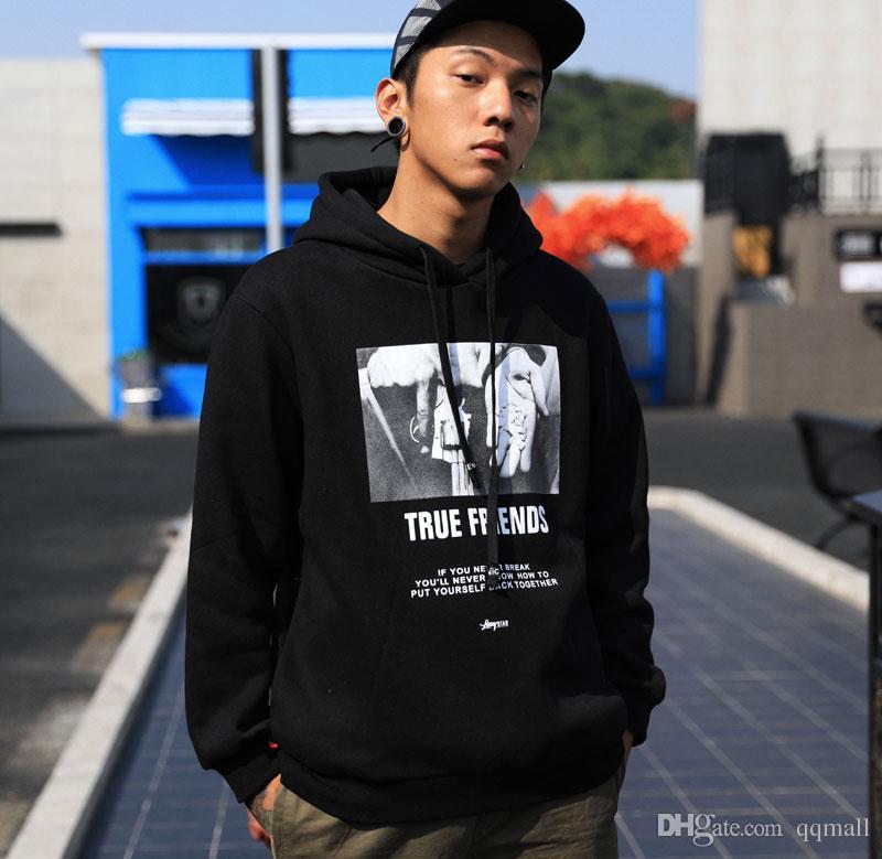 Impreso Fleece Pullover Hoodies Hombre Hip Hop Sudaderas con capucha Casual 2018 Otoño Invierno Moda Suelta Streetwear