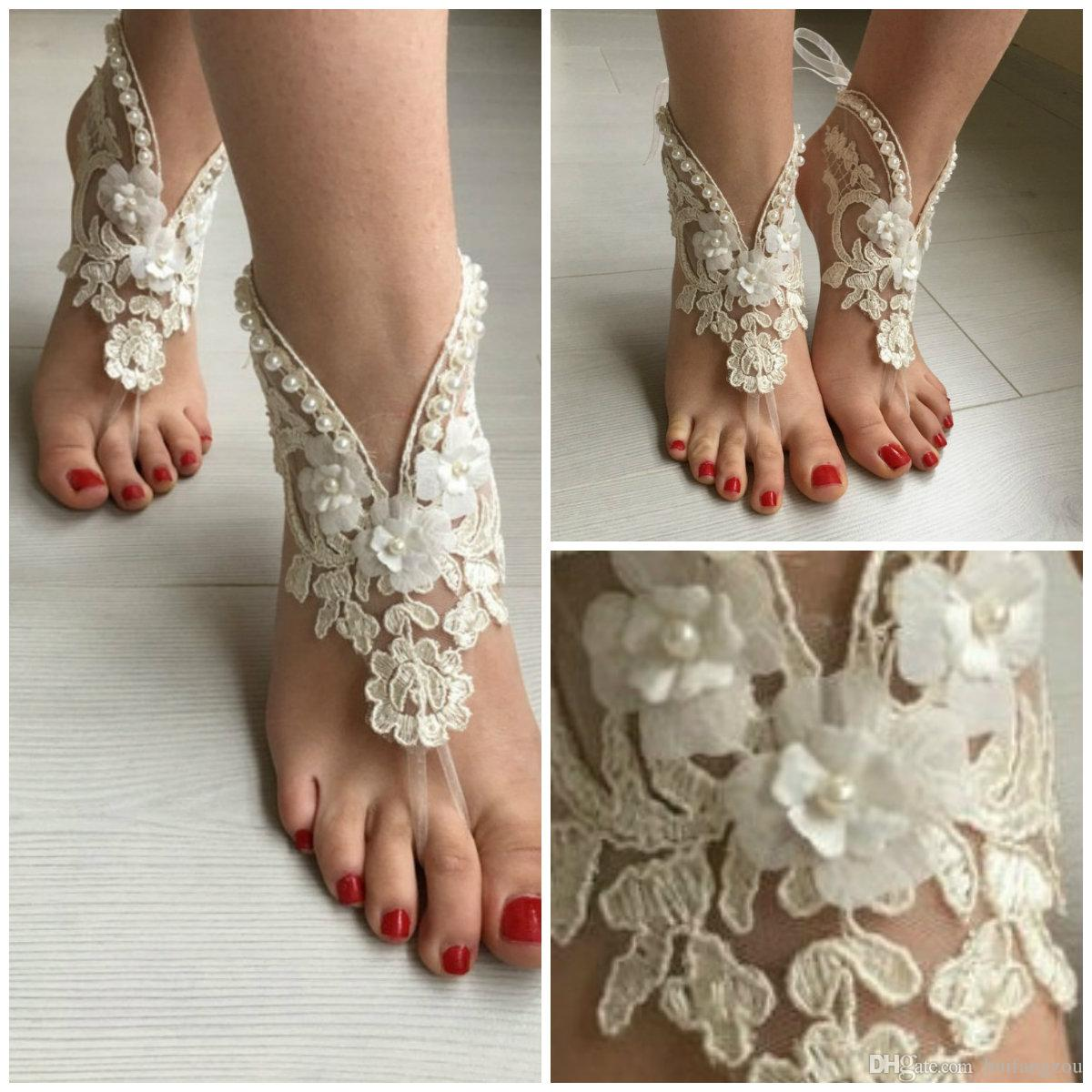 e7bdfbf469c45 Summer Beach Wedding Ankle Bracelets Stretch Imitation Pearl Lace Applique  Anklet Chain Fashion Bridal Foot Jewelry