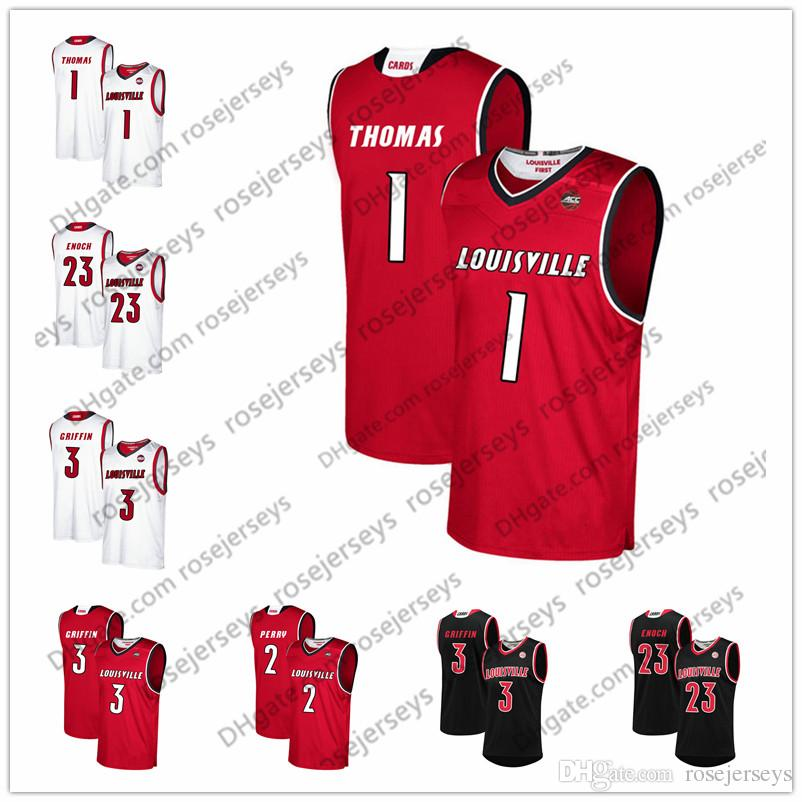 38b421d4fb5 2019 NCAA Louisville Cardinals 10 Wyatt Battail 2 Darius Perry 3 Jo Griffin  23 Steven Enoch 12 Jacob Redding Black Red White Basketball Jerseys From ...