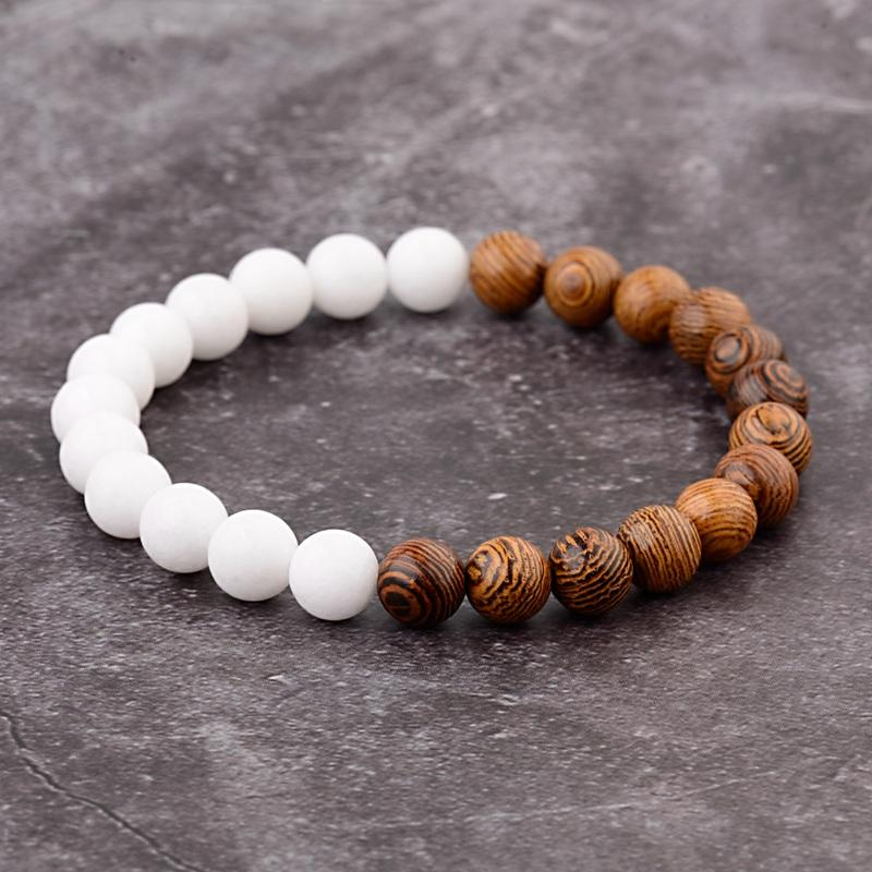20087aee520a1 Natural Wooden Beads Bracelet Women Mens Bracelets 2018 Luxury Lava Stone  Bracelets Elastic Black Vintage Gold King Crown Charms