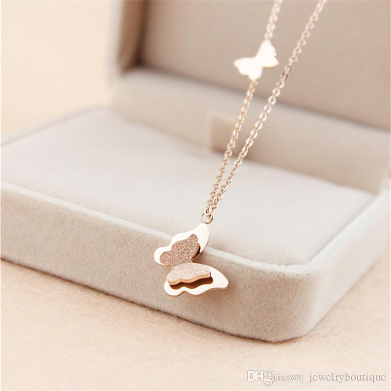 316L Titanium steel pendant Necklace with two butterfly for women wedding Jewelry in rose gold plated Free Shipping PS5024