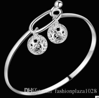 925 silver New Product Charm Handmade Folk Custom Two Balls Open Adjustable Bangles Antique 925 Silver Bracelets Bangles