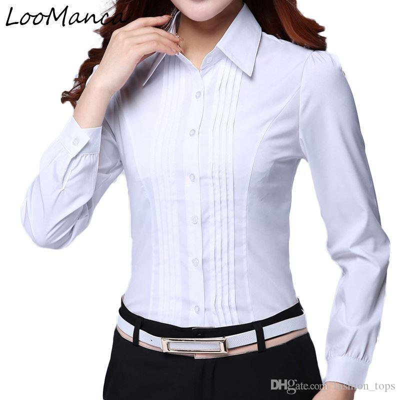 13eefd8ab12 2019 Fashion Formal Shirt Women Clothes 2018 New Slim Long Sleeve White  Blouse Elegant OL Office Ladies Work Wear Plus Size Tops From Fashion_tops,  ...