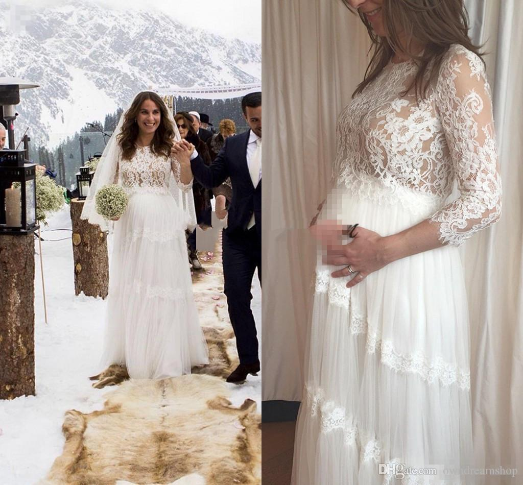 8d5e0ab4bf184 Discount 2018 Lihi Hod Maternity Wedding Dresses Lace Applique Tulle Sweep  Train 3/4 Long Sleeve Bridal Dress For Pregnant Woman Plus Size Gowns  Wedding ...