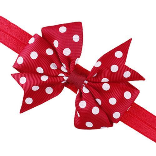 2 pezzi Neonati adorabili bambini della fascia della fascia infantile del bambino Bowknot Dot Ribbon Bow Hairband Fascia capelli Accessori capelli fascia