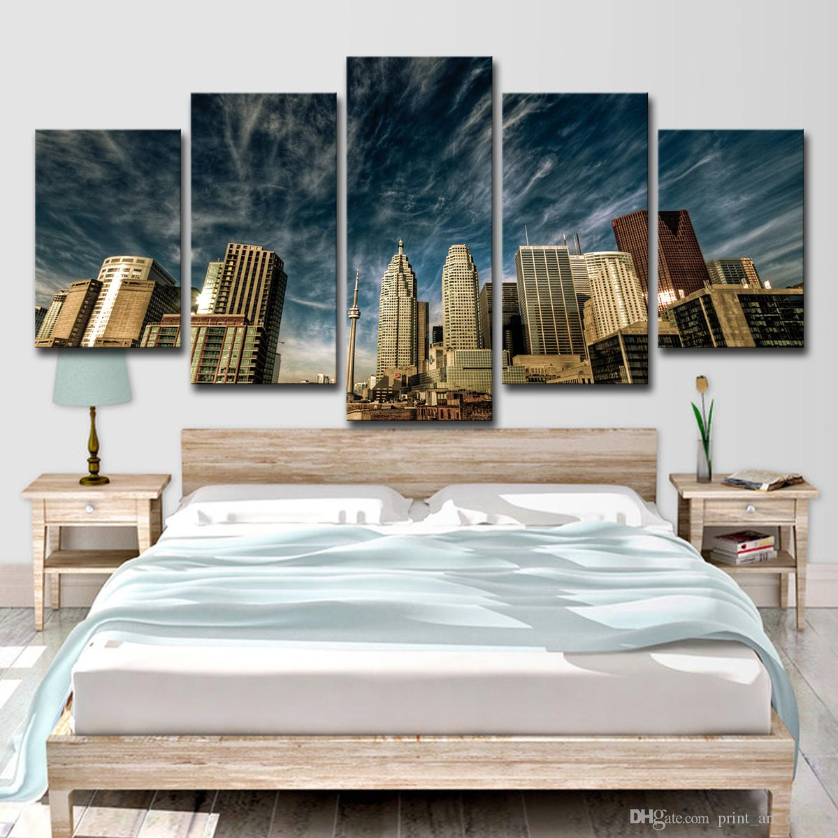 2019 Canvas Poster Home Decor Wall Art Toronto Blue Sky Skyline Paintings Living Room HD Prints City Building Pictures From Print