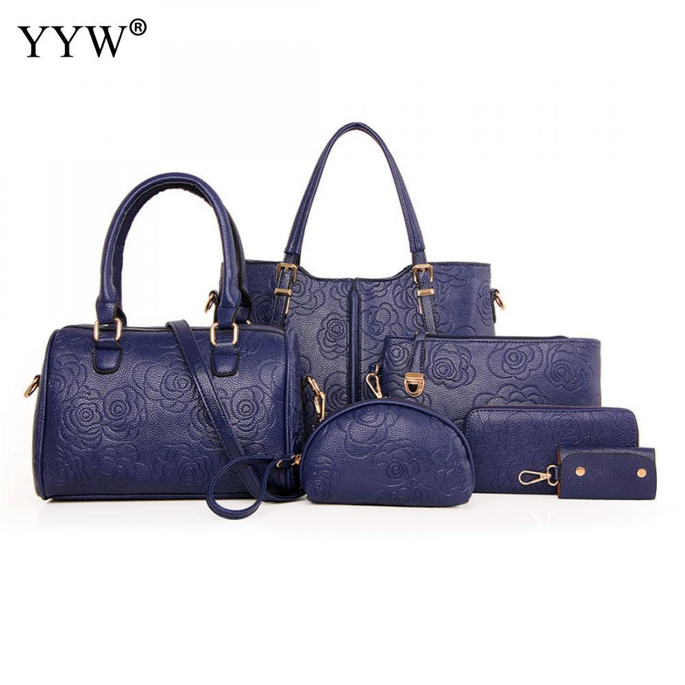 Blue PU Leather Handbags Women Bag Set Brands Tote Bag Lady s Shoulder  Crossbody Shopping Bags Clutch Womens Pouch Branded Handbags Womens Handbags  From ... 8fb07bc95eff1