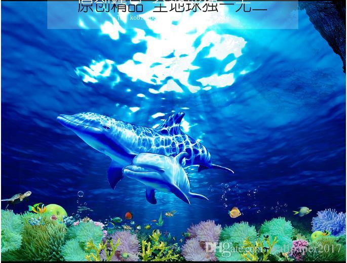 обои для спальни стены Кит подводный мир 3D трехмерная ванная комната этаж до пола живопись