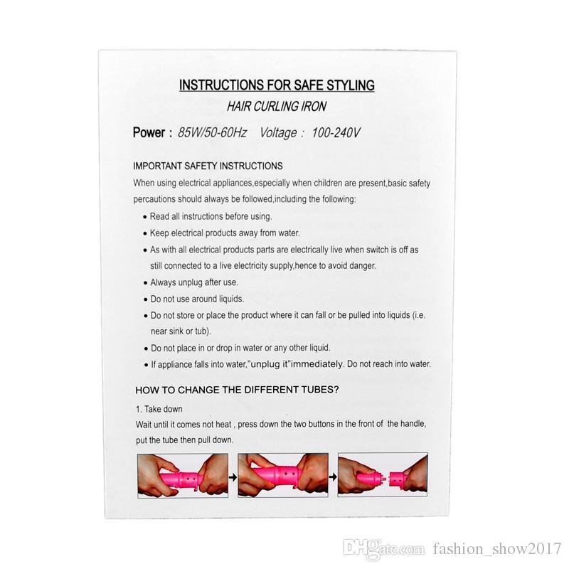 5 en 1 Curling Wand Conjunto de pelo Curling Tong Curling pelo Plancha La varita del bigudí del rodillo del pelo Juego de regalo