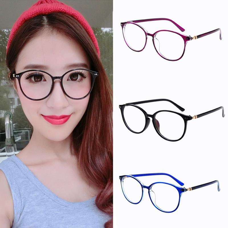 3cf121dac4d 2019 2018 New Women Round Oval Eyeglasses Glasses Frames High Grade Light  Weight Solid Color Spectacles Plain Glasses Vintage Retro From Gocan