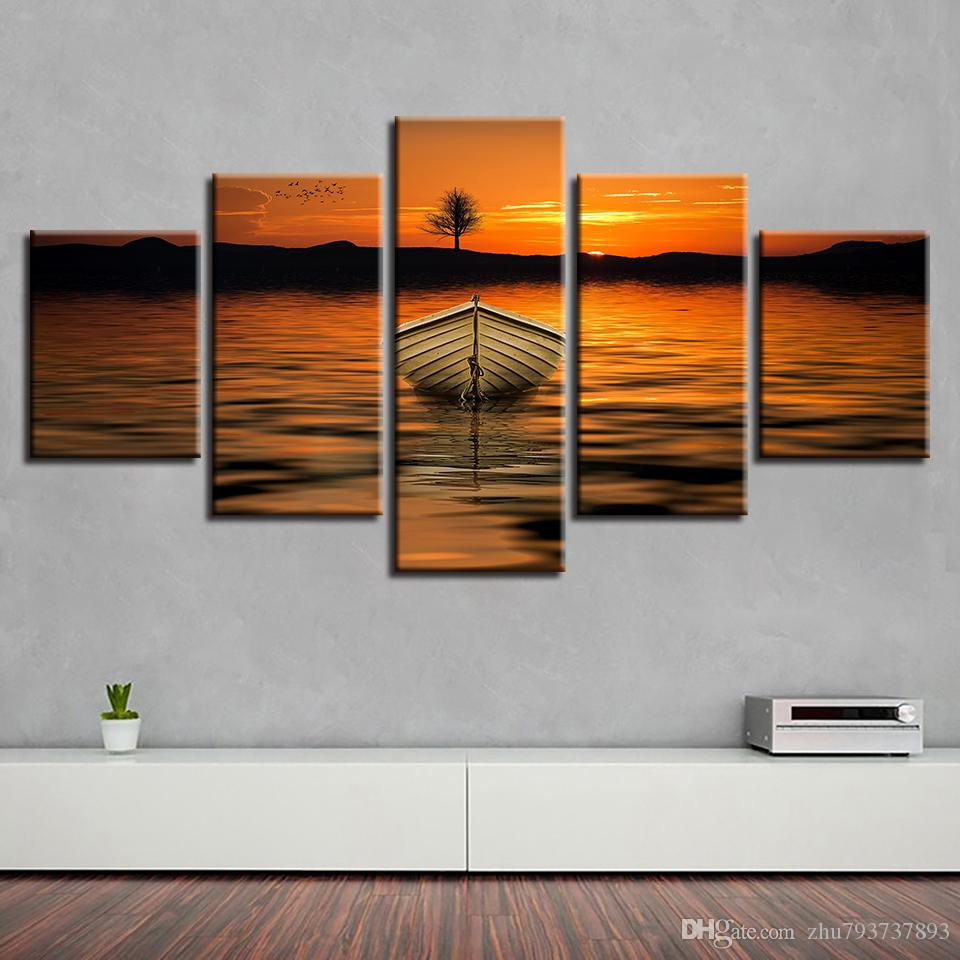 Wall Art HD Print 5 Pieces Sunset Tree Lake Ship Pictures Abstract Scenery Poster Modular Home Canvas Painting Living Room Decor