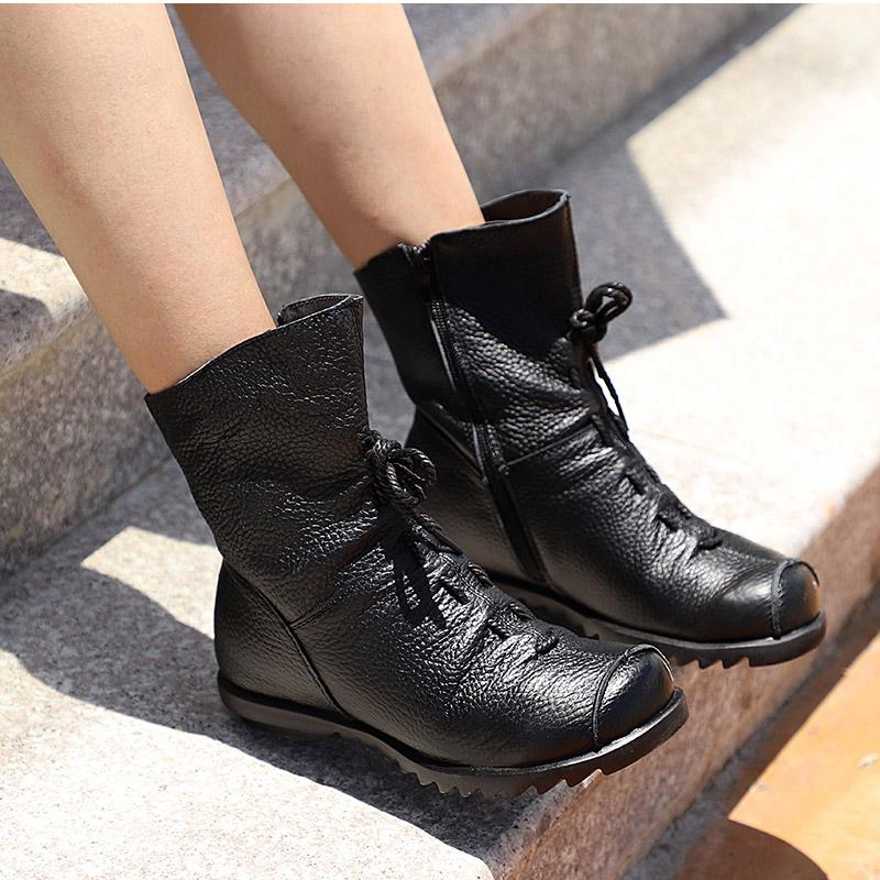 0c217c25d170 Masorini Women Ankle Boots Autumn Low Heel Shoes Platform Casual Female  Short Boot Fashion Lace Up Fold Ladies Footwear W 012 Rubber Boots Ski Boots  From ...