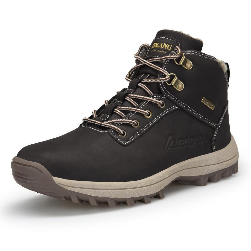 design di qualità 33d86 fb2ad Stivali da neve impermeabili in pelle da uomo Calzature da lavoro invernali  di sicurezza in peluche caldo Moda uomo Plus Size Sneakers da montagna per  ...