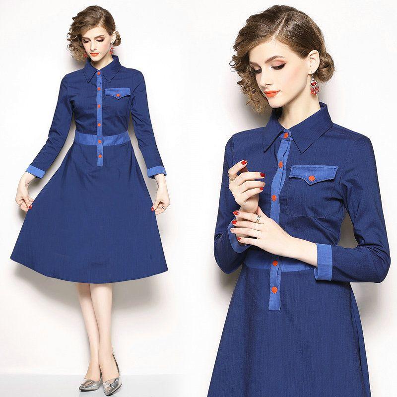 8160ded431 High Quality Denim Dress Long Sleeve Lapel Women Dresses Fashion ...