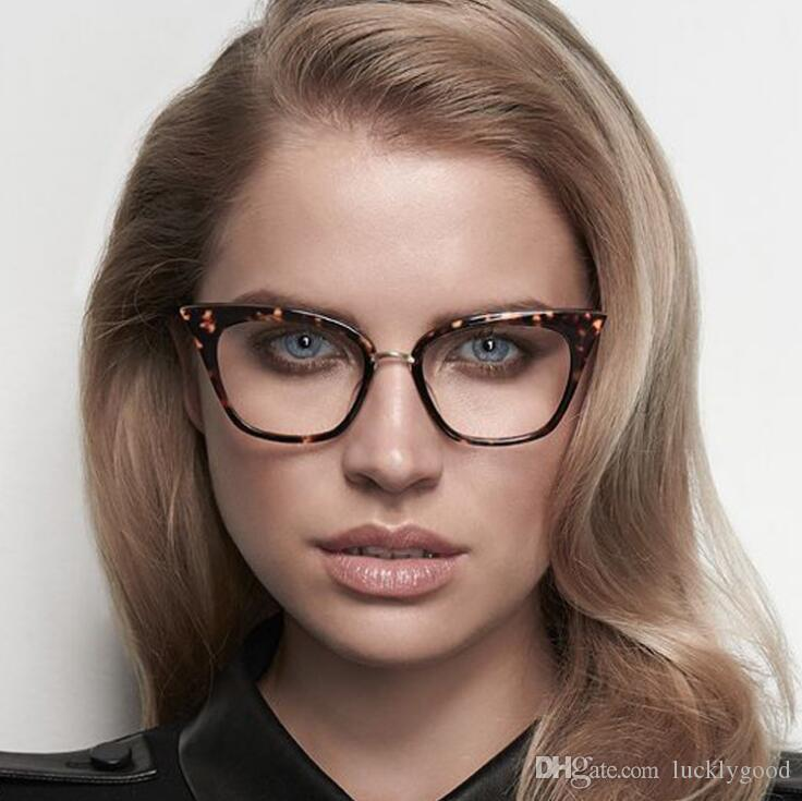 Stylish Elegant Black Cat Eye Women Eyeglasses Clear Lens Spectacle ...