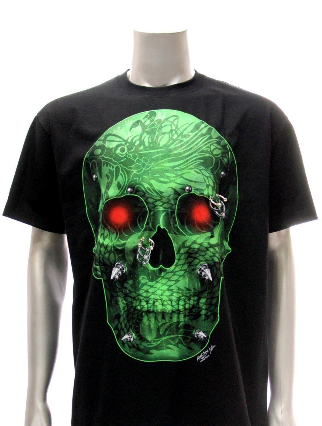 T Shirt Tattoo Glow In Dark Skull Ghost Halloween Cotton New Men S