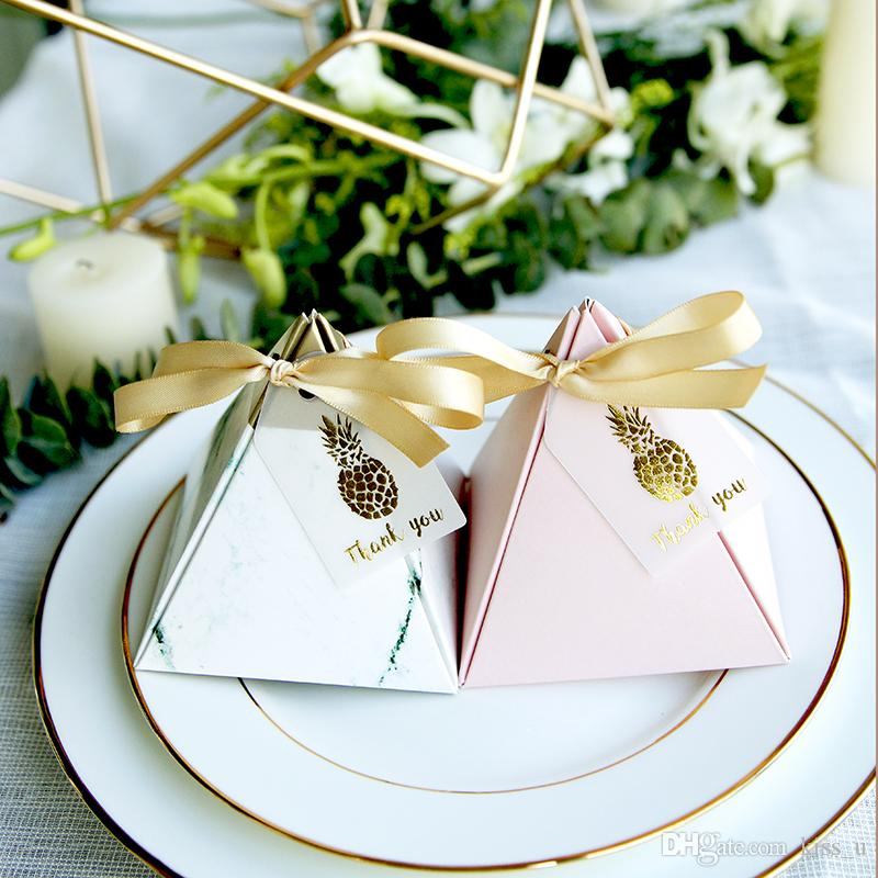 2018 Wedding Favor Box Triangle Candy Box Gift Boxes Event Party ...