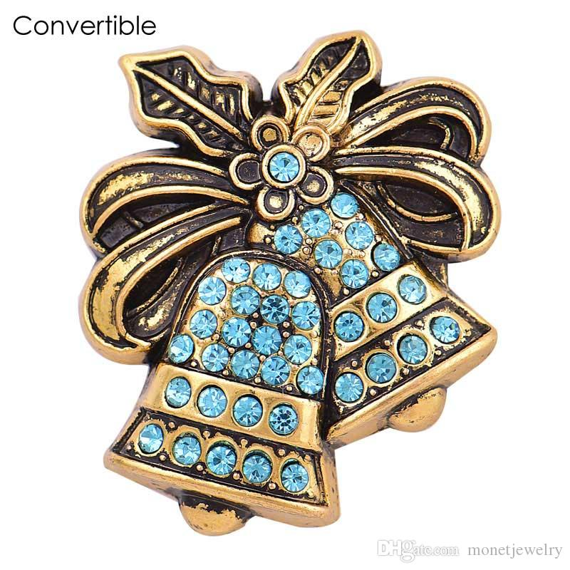 Rivca Inserts convertible alloy Silver Christmas ball Rhinestone magnetic Brooch fit antique Scarf Clip Vintage Muslim pin Brooches gifts