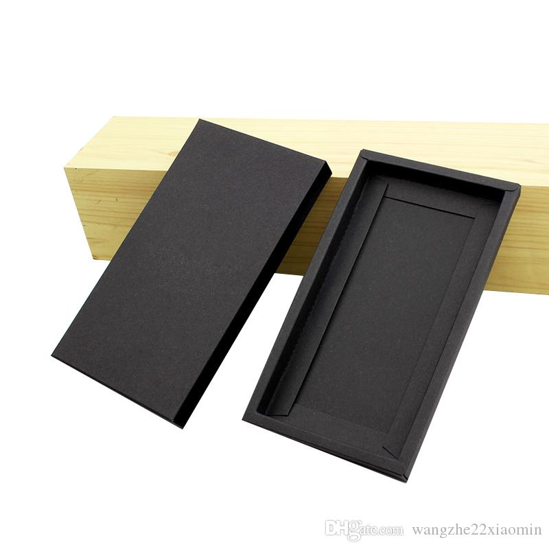 DIY Design Printing Logo Packaging Box for 4.7 and 5.5 inches Phone Case Universal High Class Black Kraft Paper Package