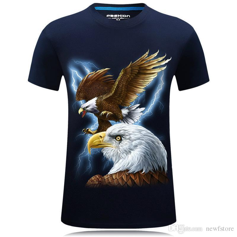 2018 new explode 3D short sleeved men s T-shirt stereoscopic and aggressive  personality round T-shirt with size code eagle