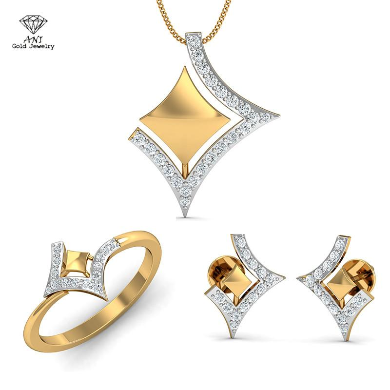 dc1b49969 2019 ANI 18K White Yellow Gold AU750 Women Engagement Bridal Jewelry Set  Natural Diamond Ring Necklace Wedding Pendants Earrings From Oldnavy, ...