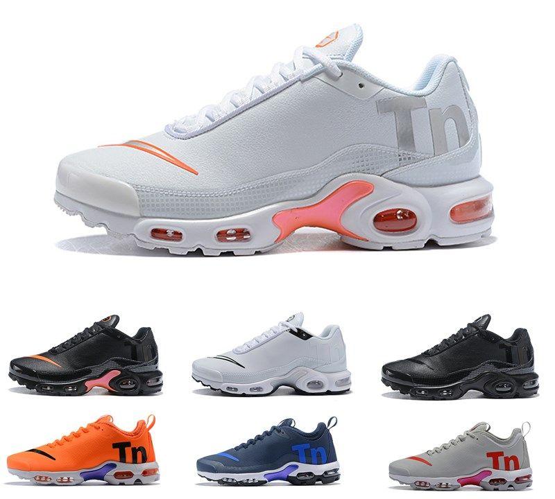 51a657f803342 Compre Nike Air Mercurial Plus Tn Ultra SE Negro Blanco Naranja Zapatos  Grises Para Correr Al Aire Libre Zapatos TN Para Mujer Zapatillas De  Deporte Para ...