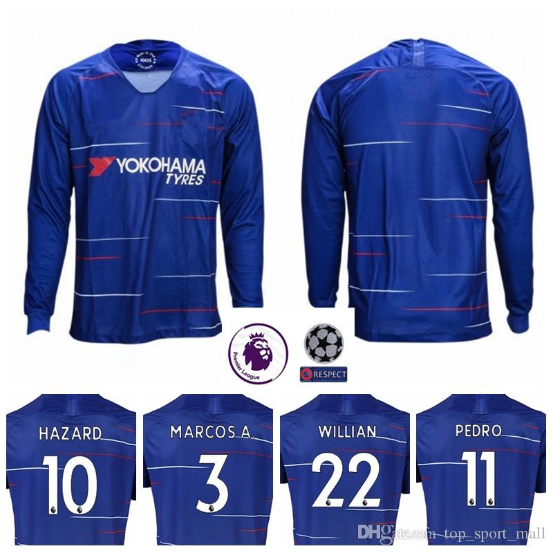 18 19 Men Premier League HAZARD MORATA Long Sleeve Jersey Soccer ... 3d01a2a1d