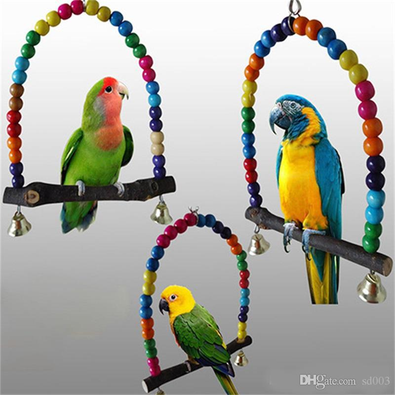 Home & Garden Practical 6 Pcs Wood Bird Toy Special Design Colorful Small Medium Parrots Big Bird Chew Swing Pets Toys Bird Supplies
