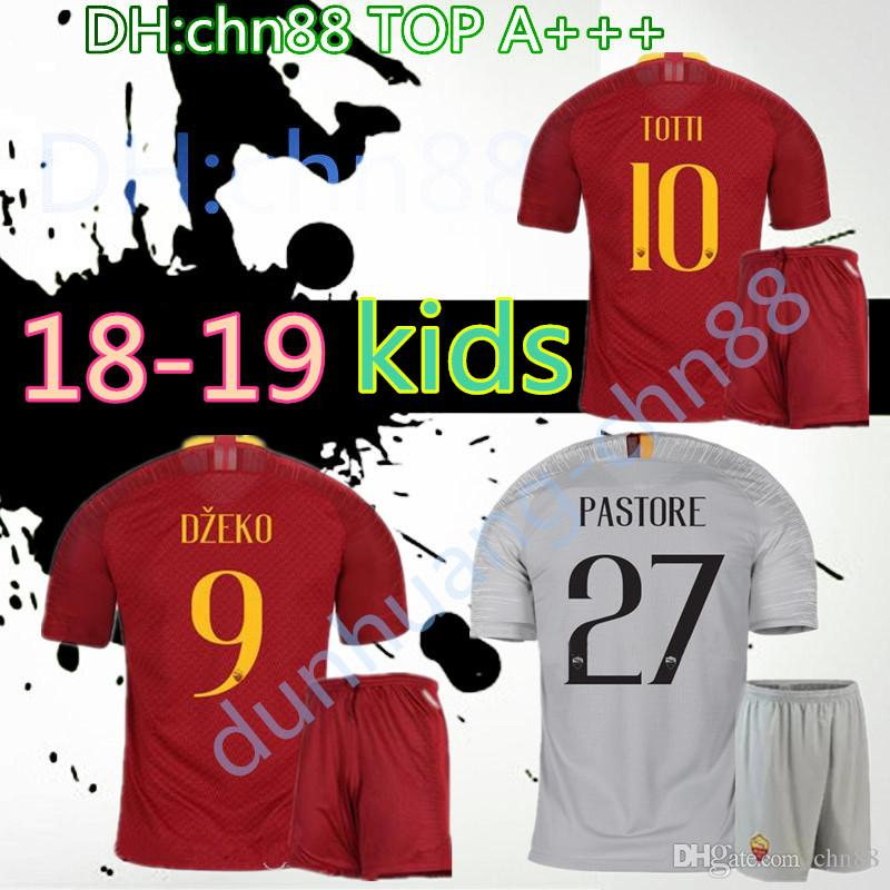 2018 2019 ROMA Kids Kit Jersey 18 19 Rome Kids TOTTI Special DE ROSSI DZEKO  Perotti HOME SOCCER JERSEYS EL SHAARAWY Football Shirt Gray AWAY UK 2019  From ... 0fffcdf5a