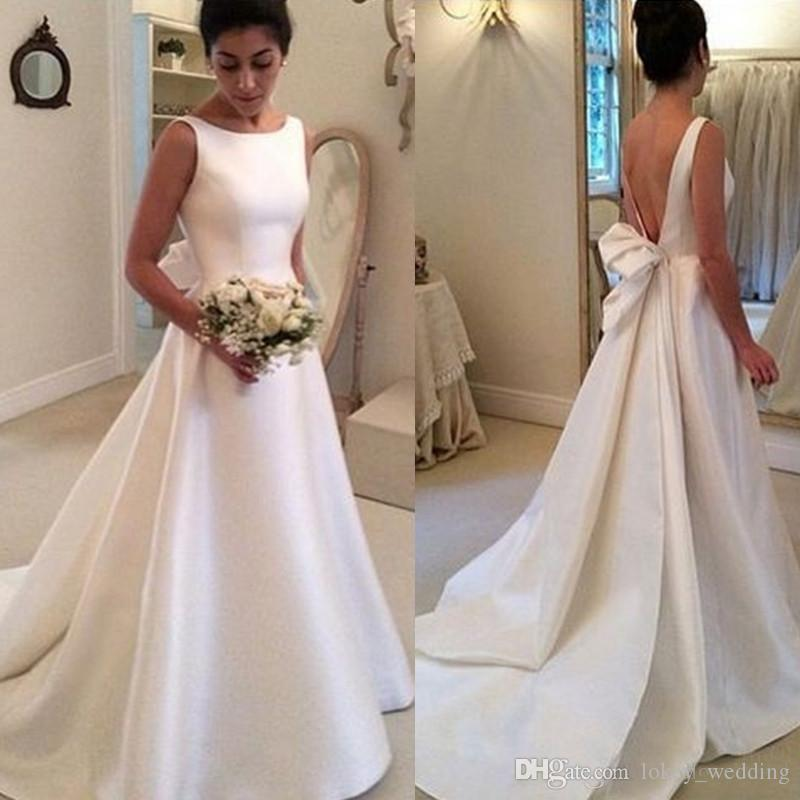 Discount Cheap Satin Backless Wedding Dresses 2018 Elegant Bateau A