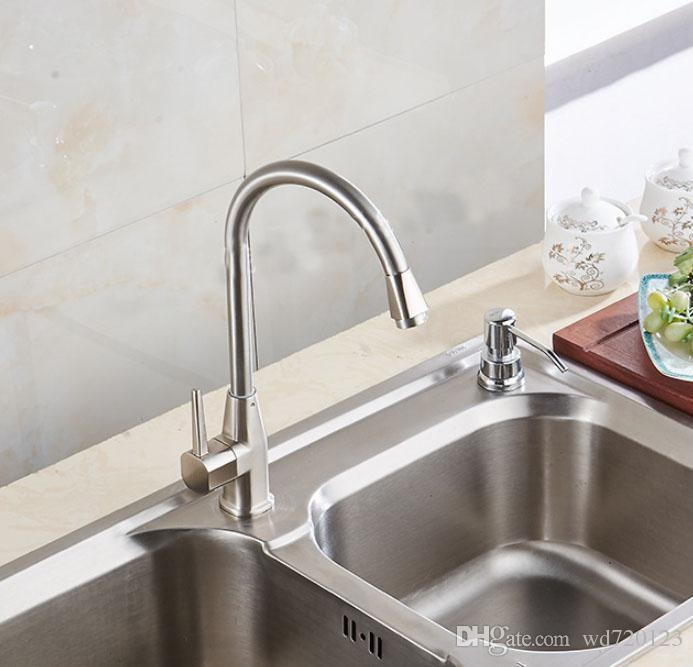brushed nickel kitchen faucet 4 piece kitchen brushed nickel kitchen sink faucet single hole swivel sprayer mixer tap360 bathroom tap