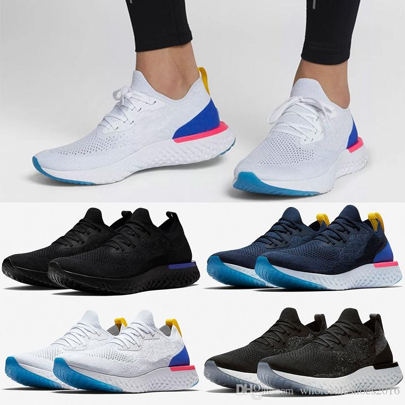 494bf2ae9cd2fc 2018 Epic React Running Shoes For Mens Womens Newest Designer Triple Black  White Oreo Blue Breathable Mesh Casual Sport Sneakers US 5.5-11 React Shoes  ...