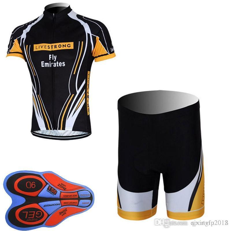 2018 LIVESTRONG Cycling Short Sleeves Jersey Shorts Sets 9D Gel Pad ... 10928d531